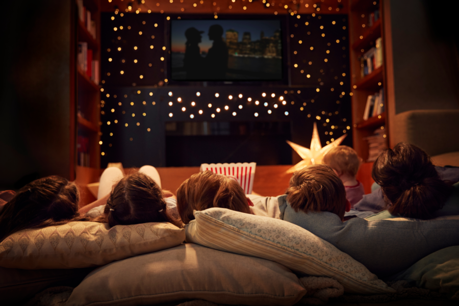 Alberta family cozying up to a winter movie night.